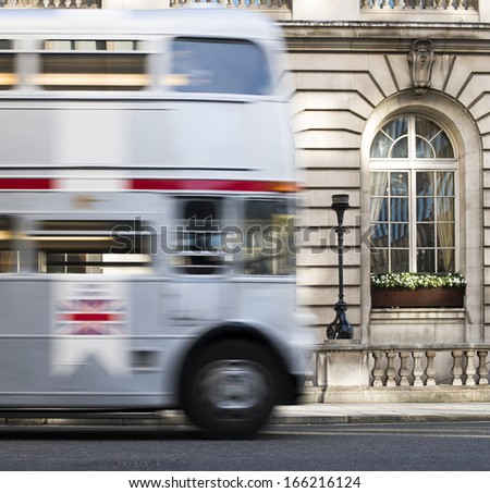 Vintage bus in London. - stock photo