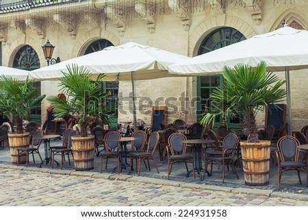 vintage cafe terrace - stock photo