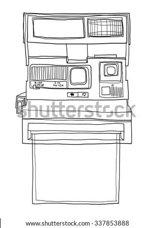 vintage Camera and blank paper line art  illustration - stock photo
