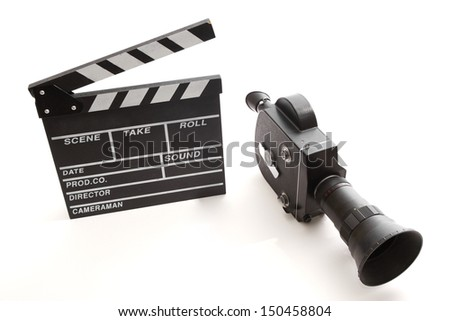 Vintage camera and clapper for movie shooting - stock photo