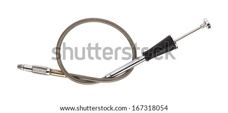 Vintage Camera cable release on white - stock photo