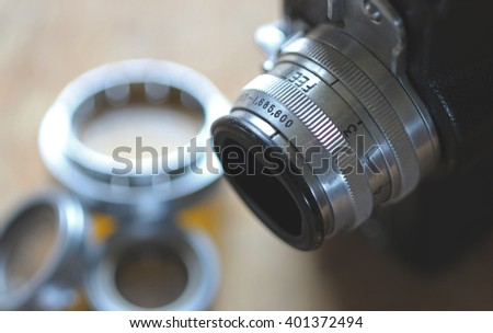 Vintage camera equipment close up background - stock photo