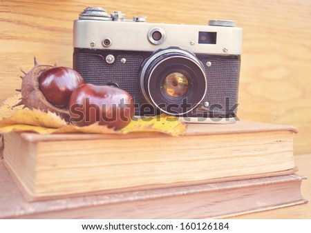 Vintage camera on book and chestnut  - stock photo