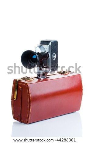 Vintage camera with case - stock photo