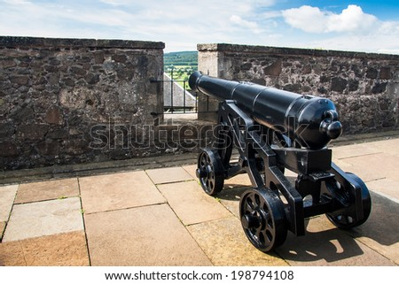 Vintage cannon at Stirling Castle, Scotland, UK  - stock photo
