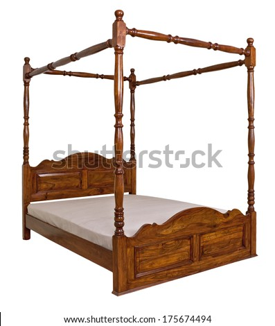 vintage canopy bed isolated on white background  - stock photo