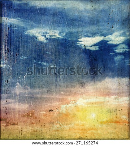 Vintage canvas sky. Summer background - stock photo