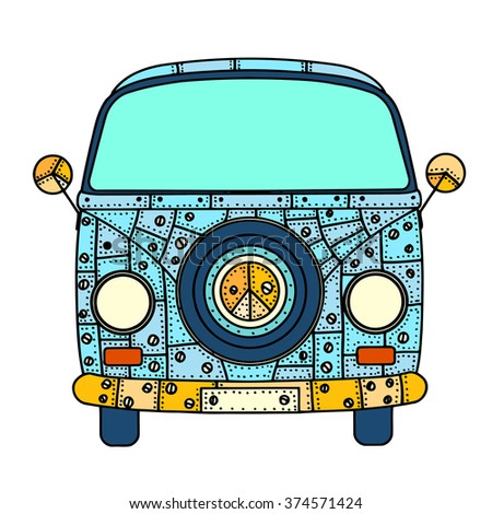 Vintage car a mini van in Tangle Patterns style. Hand drawn image. The popular bus model in the environment of the followers of the hippie movement. art illustration.