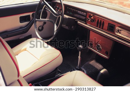 Vintage car dashboard  in the sunlight