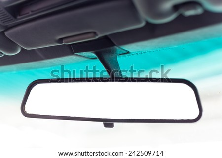 vintage car front mirror - stock photo