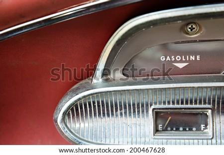 Vintage car gasoline gauge - stock photo