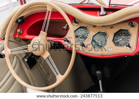 Vintage Car Inside With Retro Dashboard