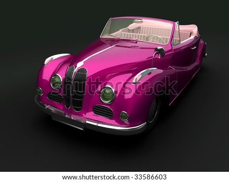 Vintage car on dark background. For other views or colors of this car please check my portfolio. - stock photo