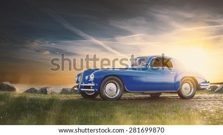 Vintage car staying at sunset. - stock photo
