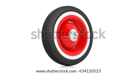 vintage car tyre isolated on white background 3d