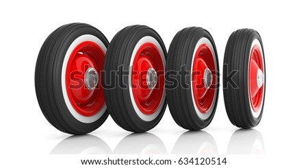 vintage car tyres isolated on white background 3d