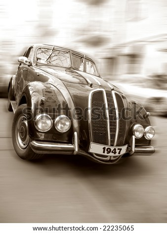 Vintage car (with path, sepia) - stock photo