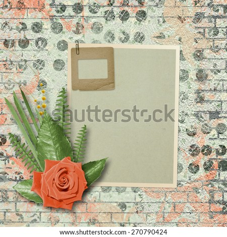 Vintage card for congratulations and invitations with a bouquet of coral roses - stock photo