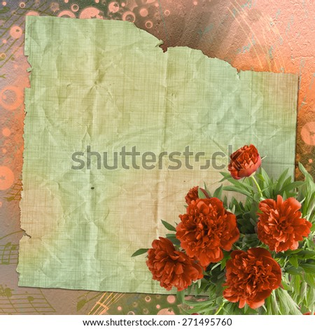 Vintage card for congratulations and invitations with bouquet of red peonies - stock photo