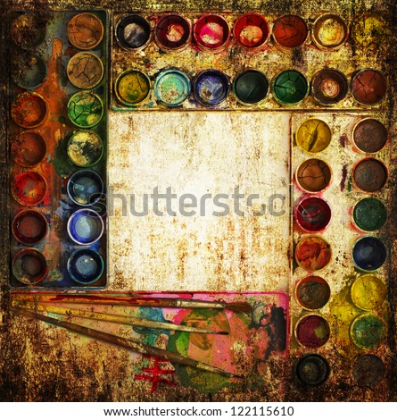 Vintage card/ Palette with paint and brushes isolated on the grunge texture. - stock photo