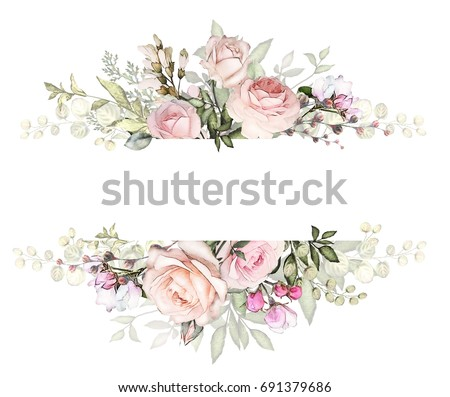 Vintage Card Watercolor Wedding Invitation Design Stock ...
