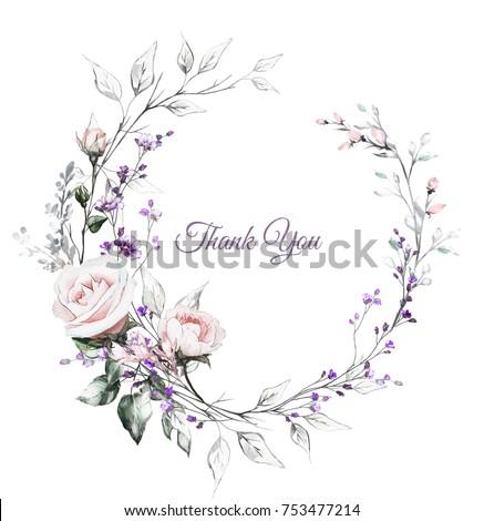 Wedding Invitation Design Images. Vintage Card  Watercolor wedding invitation design with pink roses bud leaves flower Wedding Design Stock Images Royalty Free Vectors