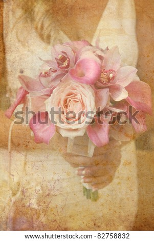 Vintage card with bridal bouquet - stock photo