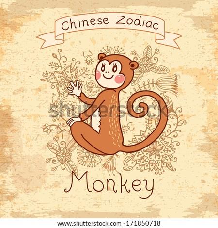 Vintage card with Chinese zodiac - Monkey. - stock photo