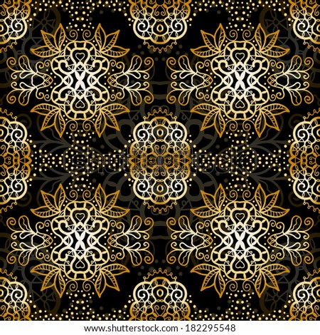 Vintage Card with damask background, luxury golden white and black design, raster lace pattern - stock photo