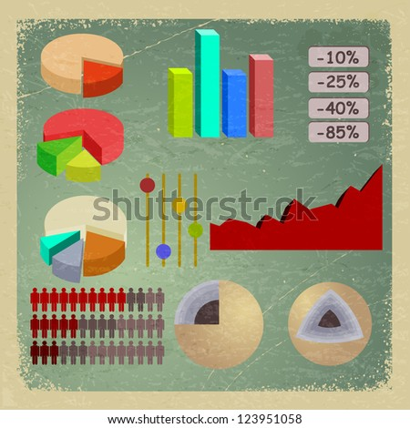 Vintage card with elements of infographics. - stock photo