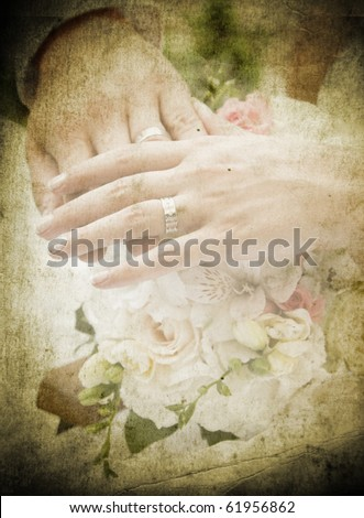 Vintage card with hands and rings on bridal bouquet