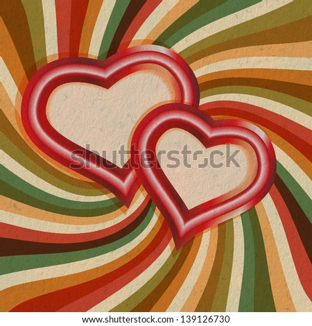 Vintage card with hearts - stock photo