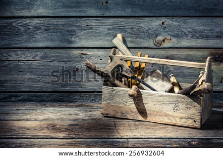 Vintage carpenters tool box - stock photo