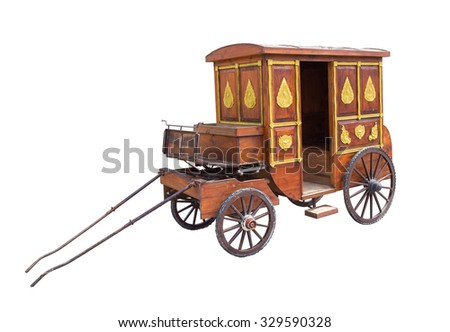 Vintage carriage from Thailand isolated on white.