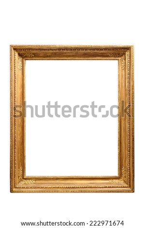 vintage carved golden frame isolated on white background - stock photo
