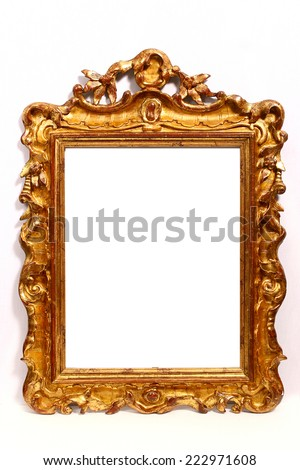 vintage carved golden frame  on white background - stock photo