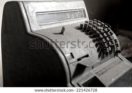 Vintage cash machine - stock photo
