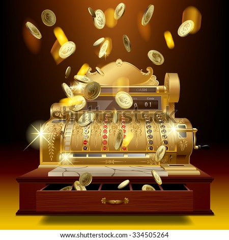 Vintage cash register and a gold money rain. Business and finance metaphor - stock photo