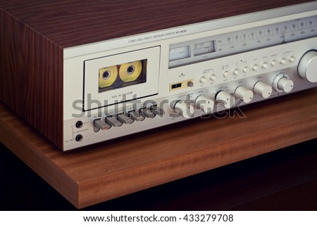 Vintage Cassette Deck Stereo Receiver Angled View Closeup - stock photo