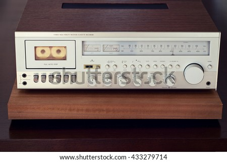 Vintage Cassette Deck Stereo Receiver Front Closeup - stock photo