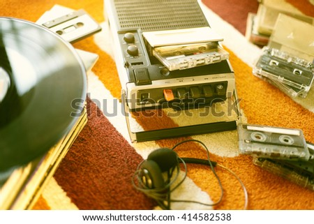 Vintage cassette tape recorder  - stock photo