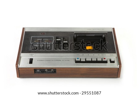 Vintage Cassette Tape Recording Device Isolated on White Background - stock photo