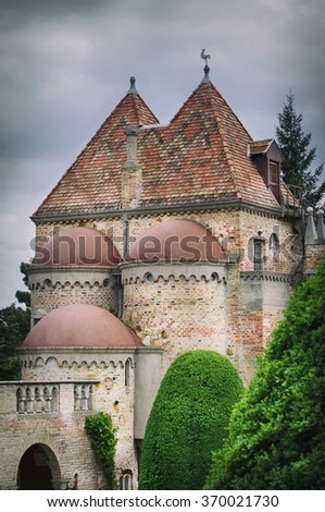 Vintage Castle Part at Hungary, Cloudy Weather - stock photo