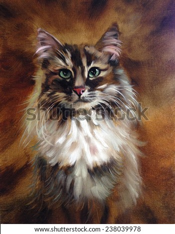Portrait painting stock photos royalty free images for Cat paintings on canvas