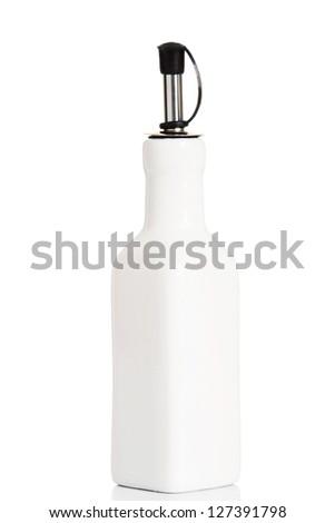 Vintage ceramic olive bottle, isolated on white - stock photo