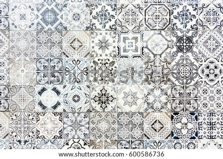 Vintage Ceramic Tiles Wall Decoration Vintage Stock Photo (Royalty ...