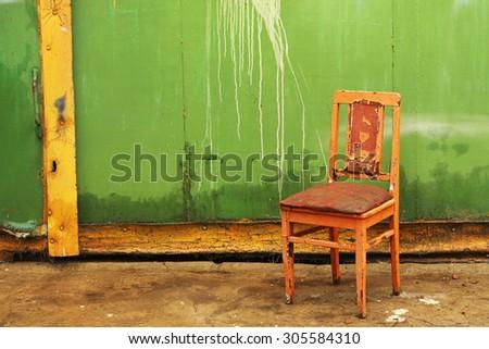 vintage chair, trash - stock photo