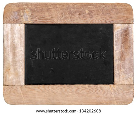 Vintage chalk black board isolated on white background