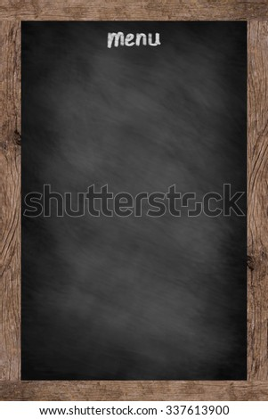 vintage chalk board background texture with old vintage wooden frame for cafe menu design,copy space blackboard for decoration/ornament, food and drink boarder conceptual.vertical display style - stock photo