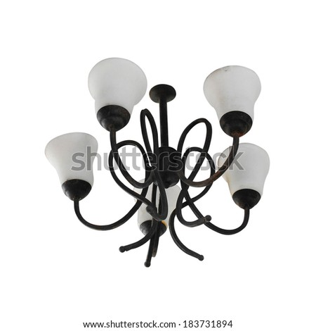 Vintage chandelier isolated on white - stock photo